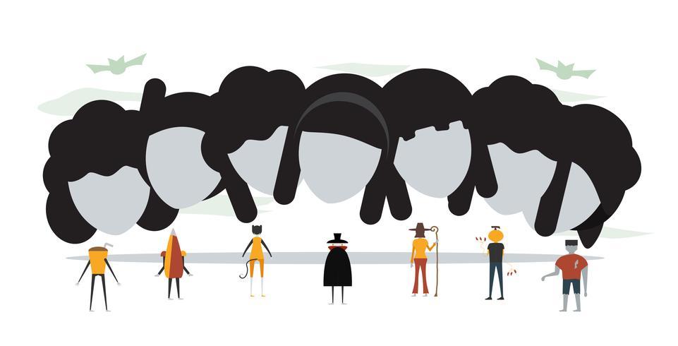 Mínima cena para o dia de halloween, 31 de outubro, com monstros que incluem drácula, vidro, abóbora homem, frankenstein, guarda-chuva, gato, bruxa mulher. Ilustração vetorial, isolada no fundo branco. vetor
