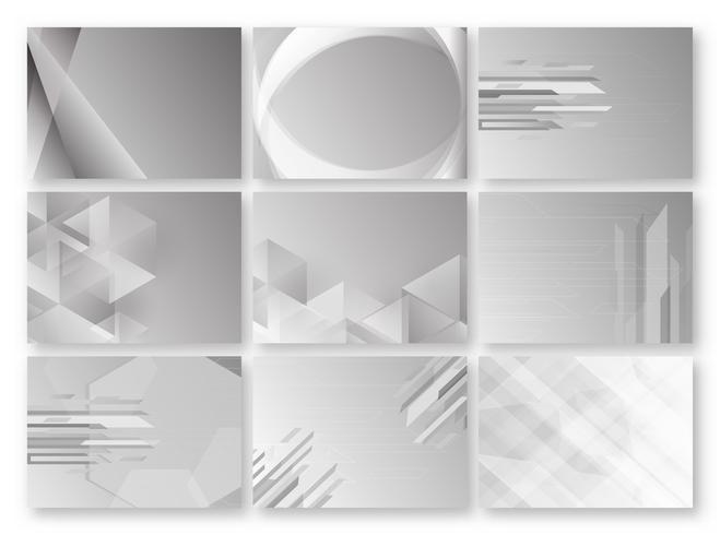 Abstrato cinzento com espaço de texto. Conjunto de modelo de polígono em tom preto e branco. Design de banner da Web. Ilustração vetorial vetor