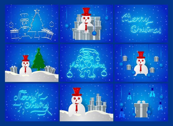 Cena do dia de Chirstmas no fundo azul com boneco de neve, árvore, neve e caixa atual. Ilustração vetorial vetor