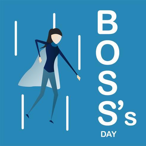 Fundo do dia do chefe feliz com a mulher super da saliência isolada no fundo azul. Personagem de desenho vetorial. vetor