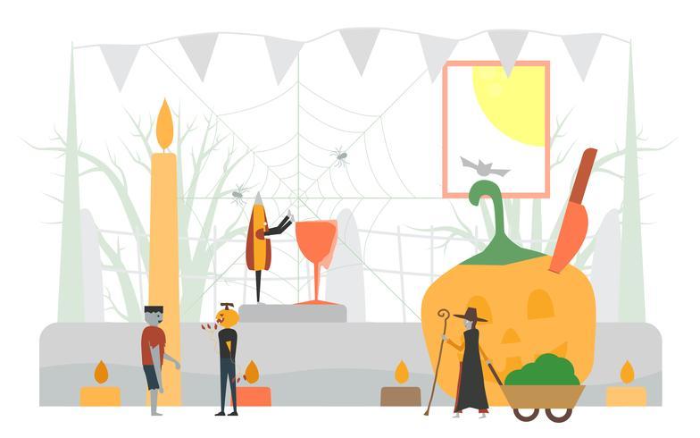 Minieme enge scène voor Halloween-dag, 31 oktober, met monsters die glas, pompoenman, frankenstein, paraplu, heksenvrouw omvatten. Vectorillustratie geïsoleerd op witte achtergrond
