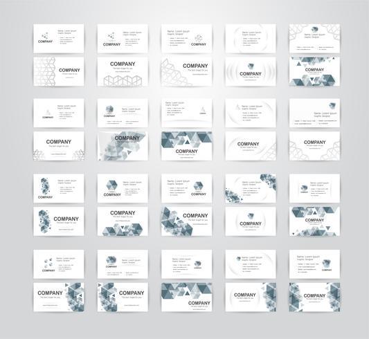 Conjunto de cartão de visita em fundo branco, com espaço de cópia. Ilustração vetorial vetor