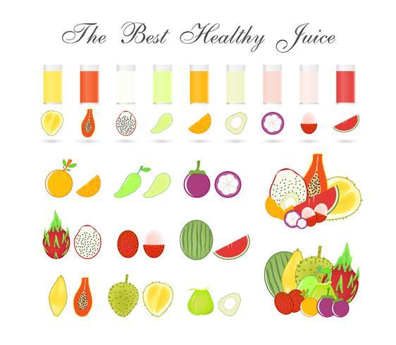 Pulpas de la fruta aisladas en el fondo blanco, bebida sana para el cuerpo, diseño del vector del icono.