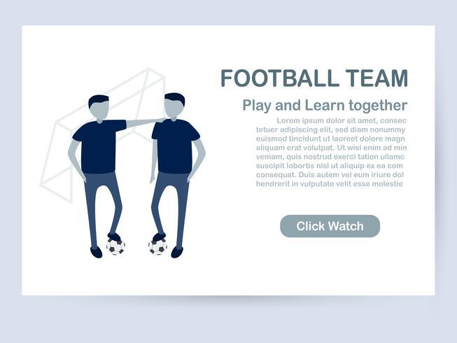 Design de modelo de site isolado no fundo branco, com espaço de cópia em tom azul. Ilustração vetorial para UX / interface do usuário com caráter de jogadores de futebol. vetor