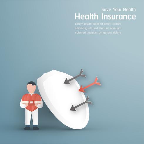 Ilustração vetorial no conceito de seguro de saúde. O projeto do molde está no fundo azul pastel para a tampa, bandeira da Web, cartaz, apresentação de corrediça. Artesanato de arte para criança em estilo de corte de papel 3d.