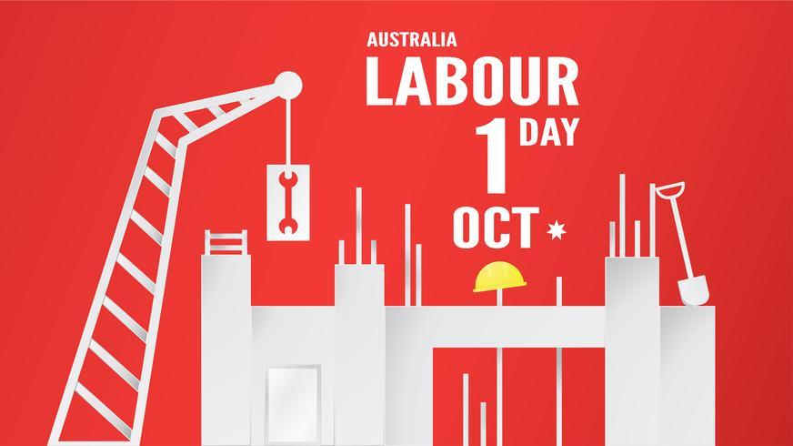 Fahnenhintergrund für Werktag, Austratlia, am 1. Oktober. Vektorillustration im Papierschnitt und im digitalen Handwerk.