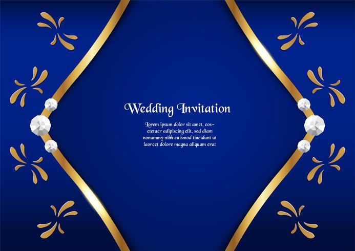 Fundo azul abstrato no conceito superior com beira dourada. Modelo de design para capa, apresentação de negócios, banner web, convite de casamento e embalagens de luxo. vetor