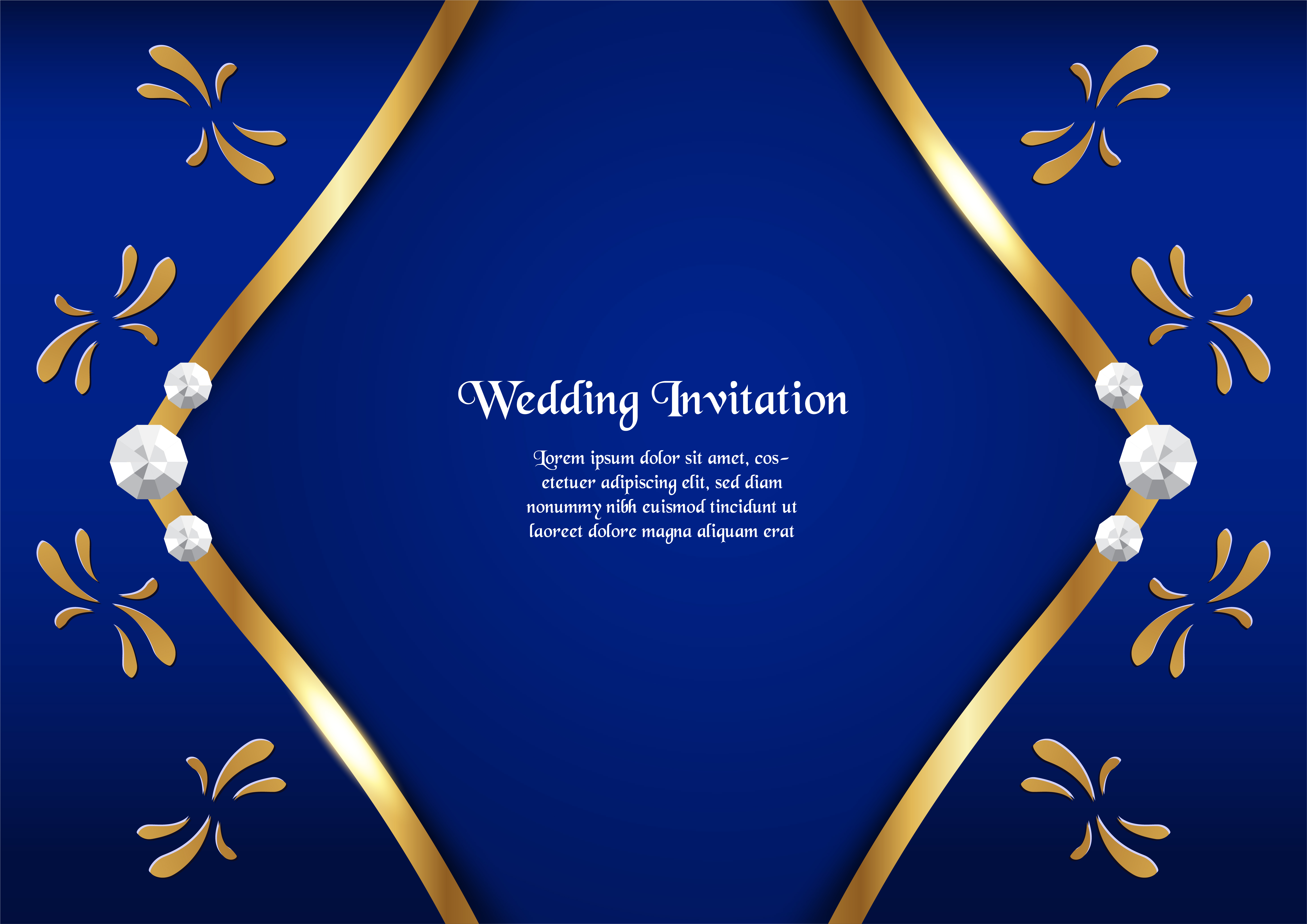 Blue Wedding Invitation Background: Abstract Blue Background In Premium Concept With Golden
