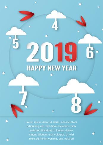 Design da capa para o feliz ano novo de 2019.