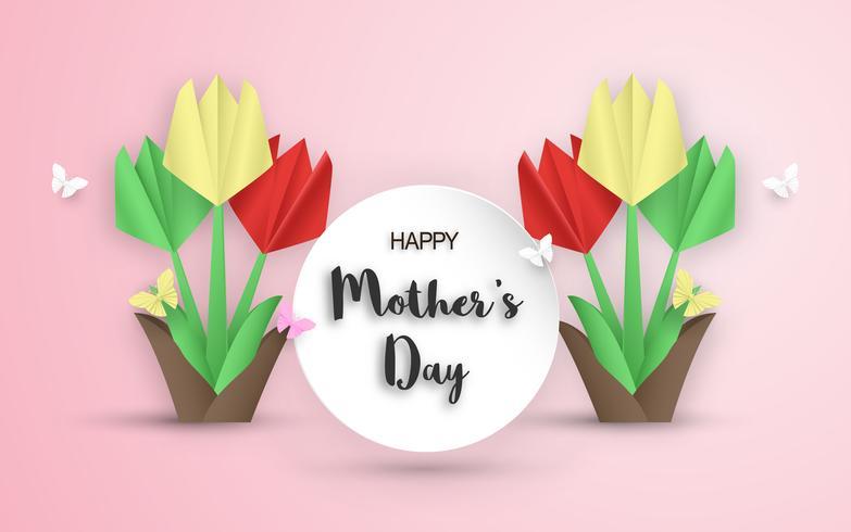 Diseño de plantillas para el feliz día de la madre. Ilustración vectorial en papel cortado y estilo artesanal. Fondo de la decoración con flores para la invitación, portada, banner, anuncio.