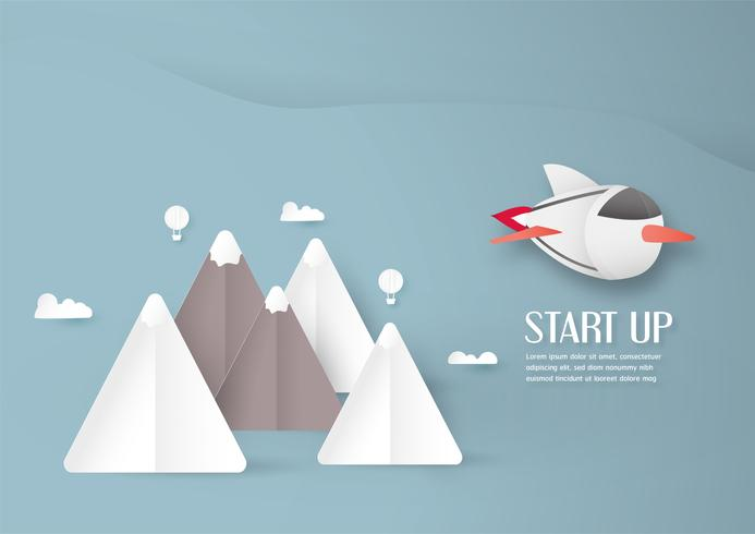 Ilustração vetorial com arranque de conceito em estilo de corte, artesanato e origami de papel. Foguete no céu.