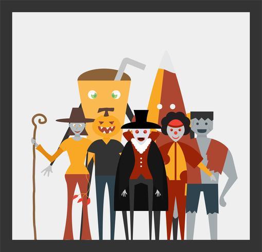 Mínima cena para o dia de halloween, 31 de outubro, com monstros que incluem drácula, vidro, abóbora homem, frankenstein, guarda-chuva, coringa, bruxa mulher. Ilustração vetorial, isolada no fundo branco. vetor