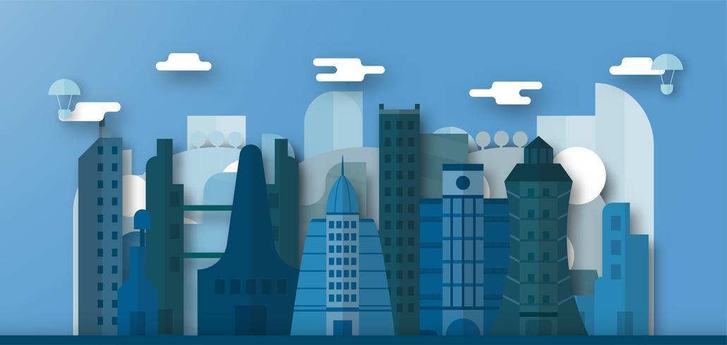 Estale acima o projeto de construções urbanas e da cidade futura com céu azul e nuvem. Ilustração vetorial com cidade plana no estilo de corte de papel. Tendência de marco para o centro do mundo e grande país. vetor