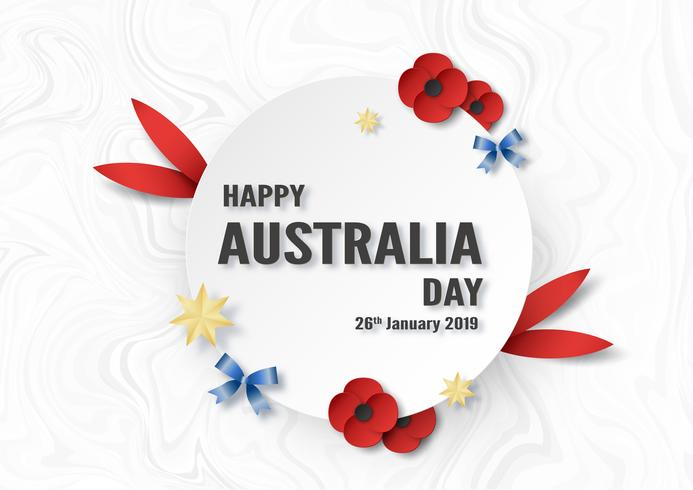 Feliz dia da Austrália em 26 de janeiro. Modelo de design para cartaz, cartão de convite, banner, publicidade, panfleto. Ilustração do vetor no estilo de corte e artesanato de papel.