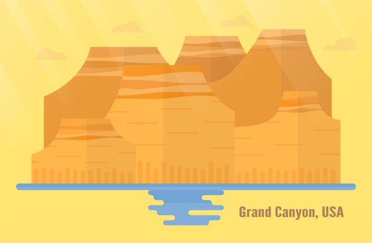 Arizona aux États-Unis, points de repère pour voyager avec le Grand Canyon, la montagne et l'eau. Illustration vectorielle avec espace copie et lumière parasite sur fond jaune et orange.