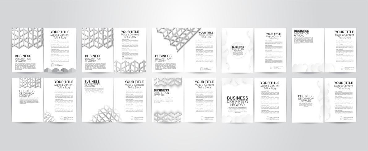 Conjunto de design de folheto com estrutura de polígono e espaço de cópia. Ilustração vetorial vetor