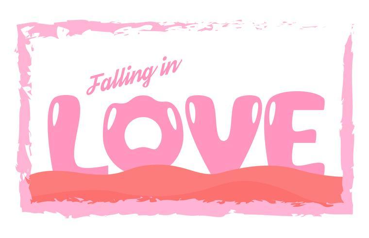 00447fbba170fe Slogan ontwerp in liefde concept voor reclame, t-shirt, dekking, banner,  sjabloon, kleding en brochure. Vectorillustratie in plat ontwerp met roze  kleuren.