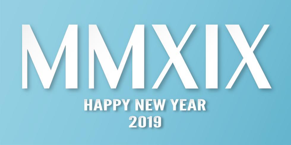Feliz ano novo 2019 com sobre fundo azul. Vector a ilustração com projeto da caligrafia dos numerais romanos no estilo de papel cortado e digital do ofício.