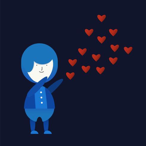 Karakter van liefde paar met rood hart. Vectorontwerp in gradiënt vlakke stijl die op donkerblauwe achtergrond wordt geïsoleerd.