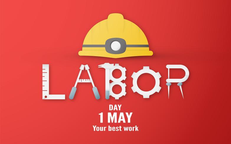 Feliz dia do trabalho em 1 de maio de anos. Modelo de design para banner, cartaz, capa, propaganda, site. Vector a ilustração no estilo do corte e do ofício do papel no fundo vermelho.
