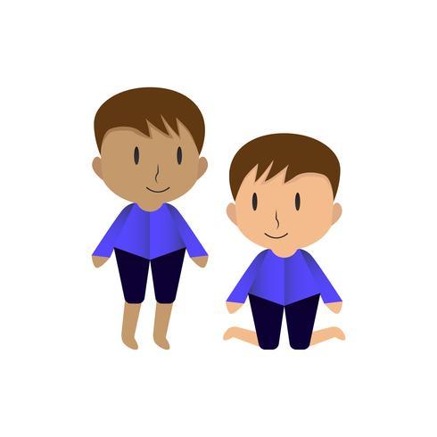 O design de personagens com os meninos se levantam e se sentam. Vector design em isolado no fundo branco.