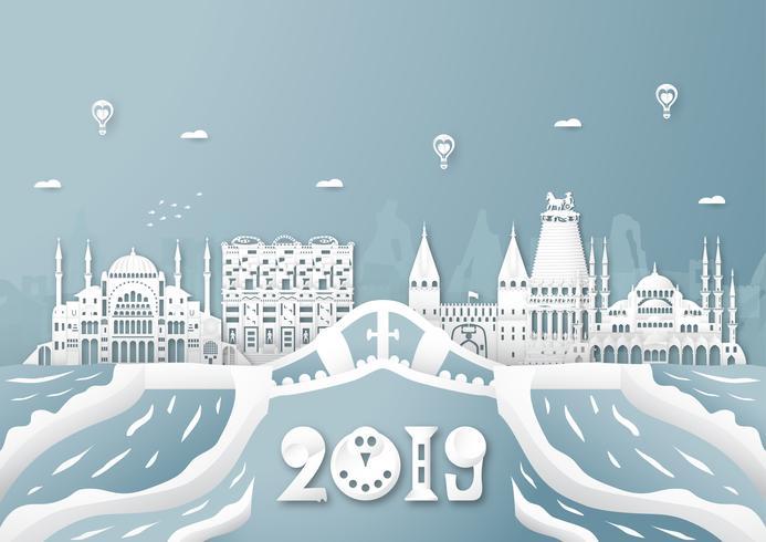 03 de abril de 2019: Top famoso marco e construção do país da Turquia para viagens e turismo. Projeto da ilustração do vetor no estilo do corte e do ofício do papel no fundo azul.
