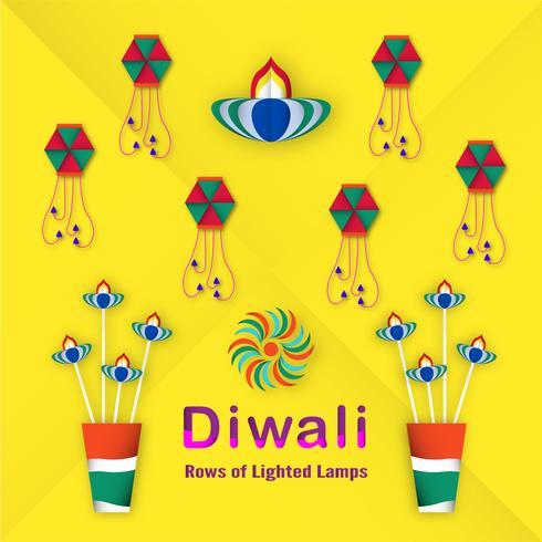 Cartão do convite para o festival de Diwali de hindu. Projeto da ilustração do vetor no estilo do corte do papel.