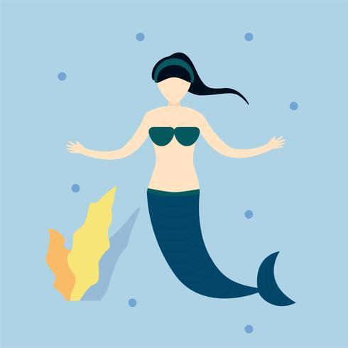 Charakter des Meerjungfraumädchens im blauen Meer. Vektorillustrationsdesign in der flachen Art.