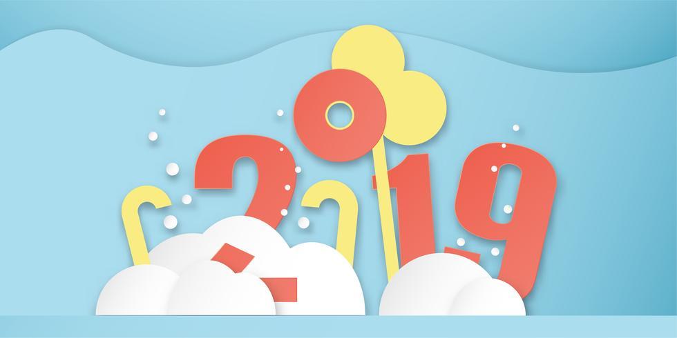 Decorazione del buon anno 2019 su fondo blu. Vector l'illustrazione con la progettazione di calligrafia del numero nel mestiere del taglio e digitale della carta. Stile minimal