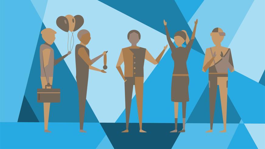 Gelukkige Werkgever op abstracte achtergrond met chef- mens en werknemer die op blauwe veelhoekachtergrond zijn. Karakter van vectorontwerp voor modern modetijdschrift.