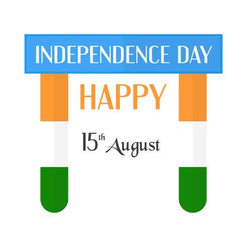 Feliz dia da independência do país da Índia e do povo indiano. Projeto de ilustração vetorial isolado no fundo branco. vetor