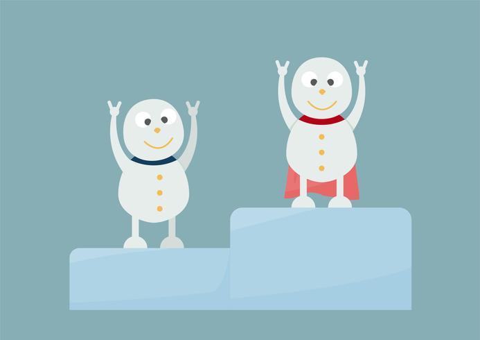Retrato da família do boneco de neve no fundo azul para o Feliz Natal o 25 de dezembro. Competição para ser o número um. vetor