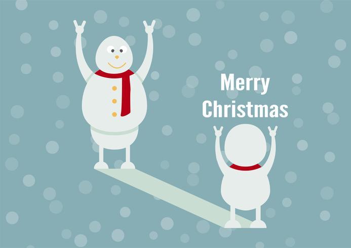 Snögubbefamiljporträtt på blå bakgrund för God jul den 25 december. Sonen blir far.