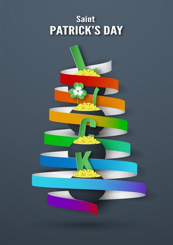 Modelo para o dia de São Patrício no domingo, 17 de março. Ilustração vetorial no estilo de corte e artesanato 3D papel. vetor