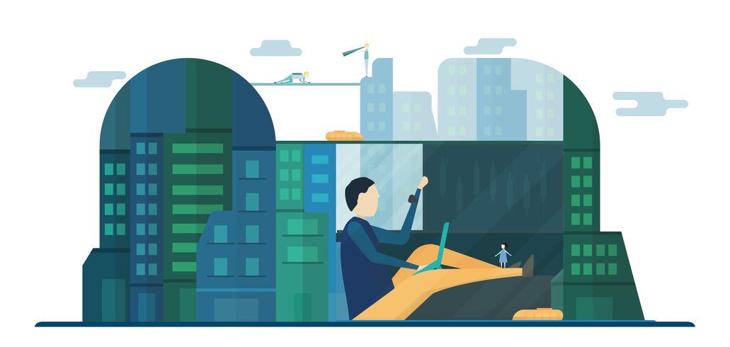 Povos futuros em edifícios urbanos com céu azul e nuvem. Ilustração vetorial com cidade plana no estilo de corte de papel. Tendência de marco para o centro do mundo e grande país. vetor