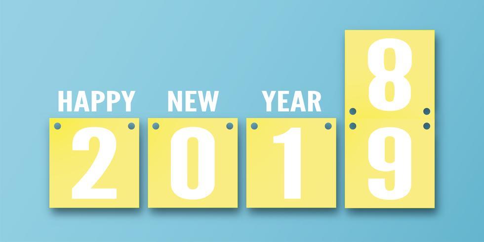 Decoração do ano novo feliz 2019 no fundo azul. Vector a ilustração com projeto do calendário 3D no ofício cortado e digital do papel. O conceito mostra que houve mudança do ano.