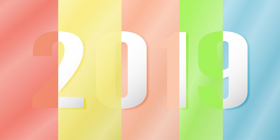 Feliz Año Nuevo 2019 en concepto de diseño material en fondo colorido. Ilustración vectorial en papel cortado y artesanía digital con reflejo de espejo.