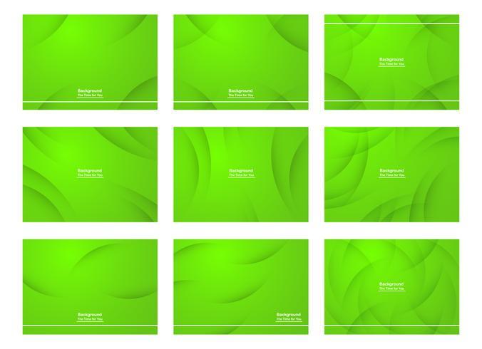 Conjunto de fundo abstrato verde com espaço de cópia para o texto. Modelo de design moderno para capa, banner web, tela e revista. Ilustração vetorial vetor