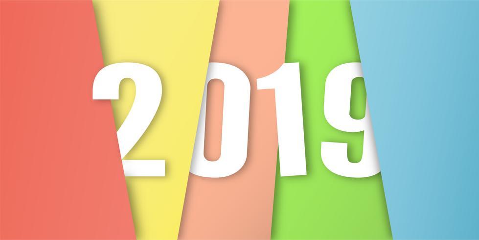 Felice anno nuovo 2019 nel concetto di design materiale su sfondo colorato. Illustrazione vettoriale in carta tagliata e artigianato digitale.
