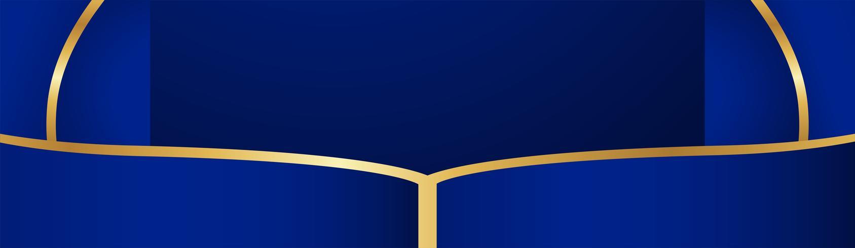 Fundo azul abstrato no estilo indiano superior. Modelo de design para capa, apresentação de negócios, banner web, convite de casamento e embalagens de luxo. Ilustração vetorial com borda dourada. vetor