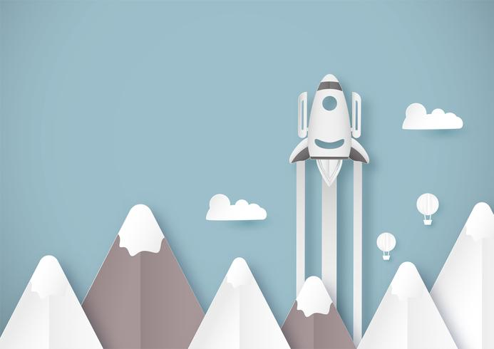 Ilustração vetorial com arranque de conceito em estilo de corte, artesanato e origami de papel. Foguete está voando no céu azul. Modelo de design para banner da web, cartaz, capa, propaganda. Artesanato de arte 3D para crianças.