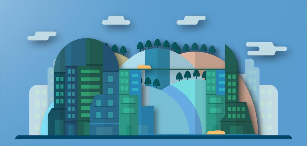 Pop-up conception de bâtiments urbains et future ville avec ciel bleu et nuage. Illustration vectorielle avec ville plate en papier coupé style. Tendance de point de repère pour le centre-ville du monde et grand pays.
