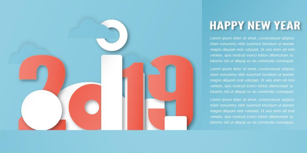 Decoração do ano novo feliz 2019 no fundo azul. Vector a ilustração com projeto da caligrafia do número no ofício cortado e digital do papel. Estilo minimalista.