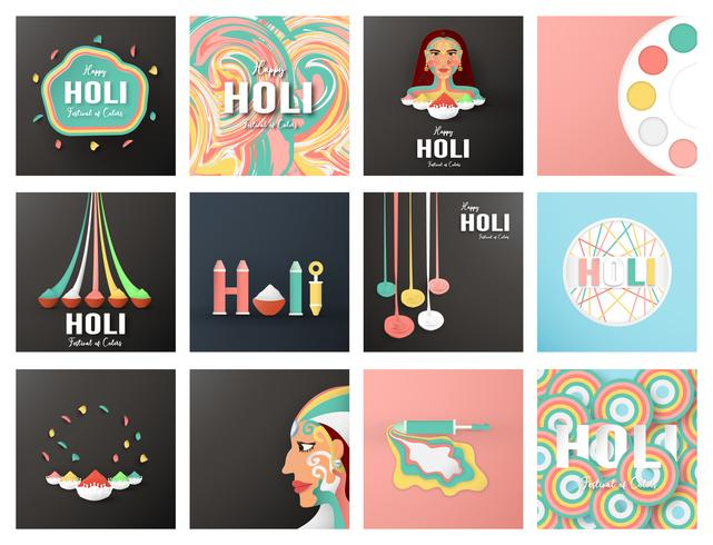 Happy Holi, Festival des Couleurs. Bundel design d'élément de modèle pour le modèle, bannière, affiche, carte de voeux. Illustration vectorielle en papier découpé, artisanat, type origami avec un style plat laïc. vecteur