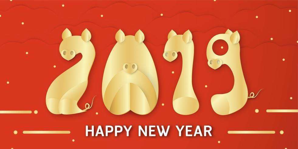 Guten Rutsch ins Neue Jahr 2019 mit glänzendem Hintergrund für Tierkreis des Schweins. Vector Illustration mit goldenem Guss im Papierschnitt und im digitalen Handwerk.
