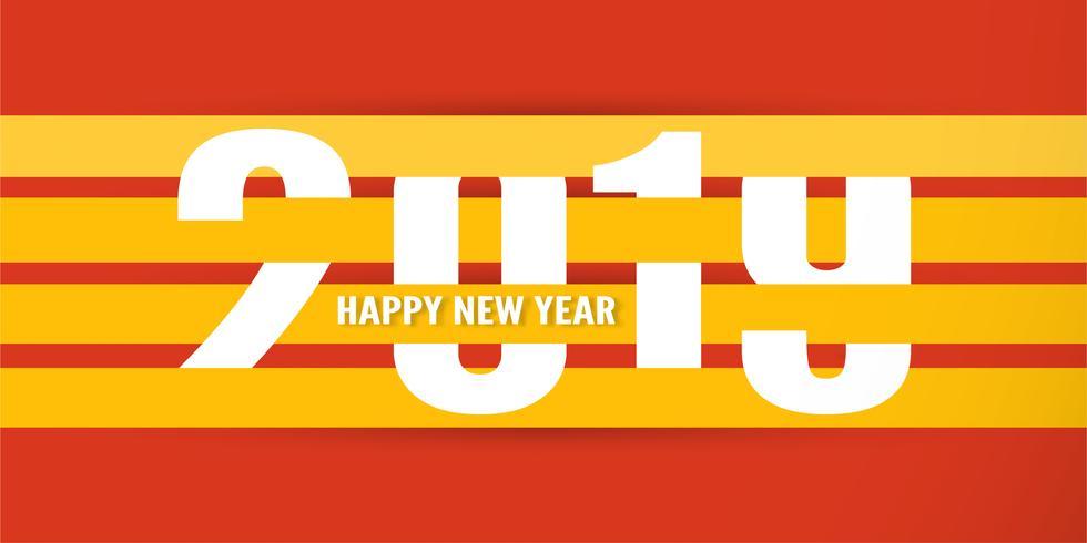 Guten Rutsch ins Neue Jahr 2019 mit shodow der Wolke auf rotem Hintergrund. Vektorillustration mit Kalligraphiedesign der Zahl im Papierschnitt und im digitalen Handwerk.