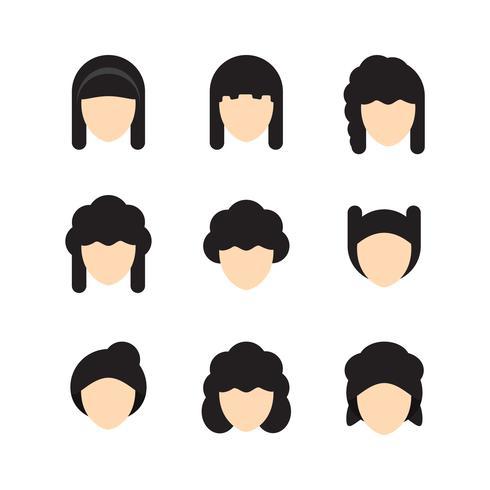 Illustrazione vettoriale di stili di capelli per le donne. Design piatto.