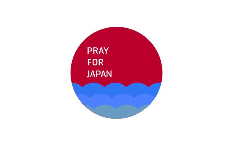 Ilustración vectorial en concepto de inundación en el país de Japón. Ora por los japoneses en la ciudad de Takatsuki.