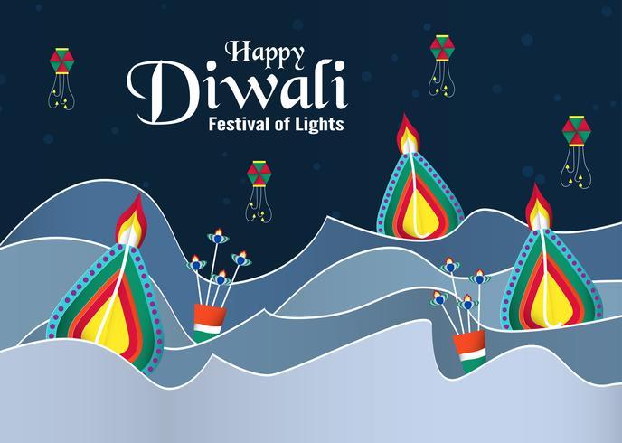 Inbjudan bakgrund för Diwali, festivalen av hinduiska lampor. Vektor illustration design i pappersskuren och hantverk stil.
