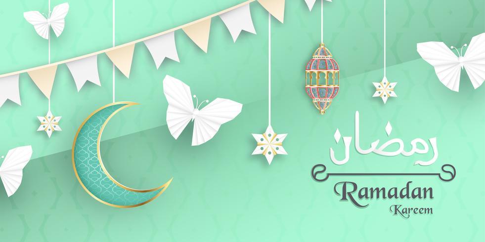 Modèle pour Ramadan Kareem avec la couleur verte et or. Conception 3D illustration vectorielle en papier découpé et artisanat pour carte de voeux islamique, invitation, couverture de livre, brochure, bannière Web, publicité. vecteur